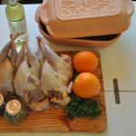 Raw material for the pheasant roast: meat spices, wine, oranges and the romertopf