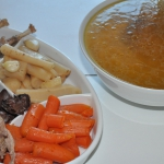The pheasant broth and a variety of delicious things to put in