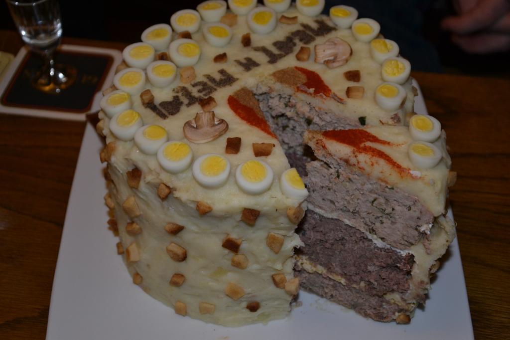 Cut meat cake