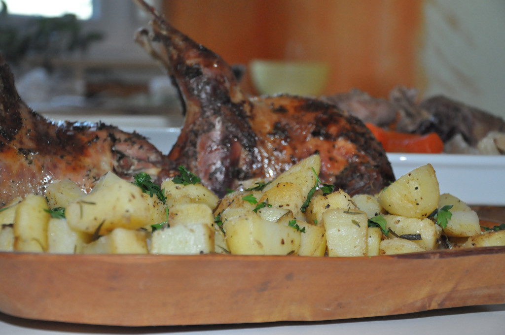 Pheasant roast with rosemary roasted potatoes